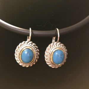 Turquoise and  silver tone earrings